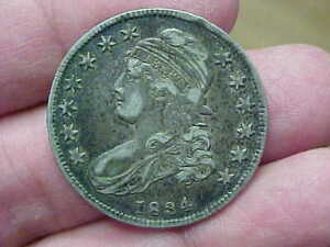1834 CAPPED BUST HALF DOLLAR FULL RIM DATE LIBERTY BUST LINES MOTTO SMALL DT LTR