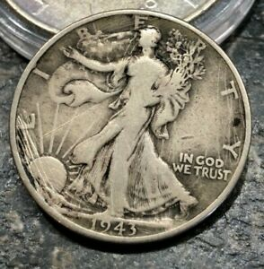 1943 P SILVER WALKING LIBERTY HALF DOLLAR  SCRATCHES ON OBVERSE