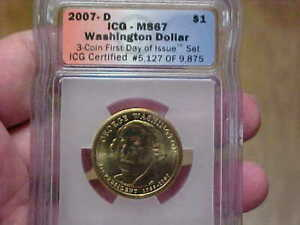 2007 D DENVER WASHINGTON DOLLAR ICG MS67 FIRST DAY OF ISSUE BRILLIANT LUSTER NR