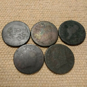 5 CLASSIC HEAD LARGE CENTS WITHOUT DATES FROM 1808 1814 ERA @ $6.00 EACH