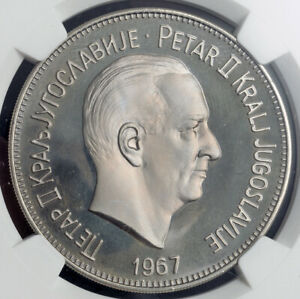 Click now to see the BUY IT NOW Price! 1967 YUGOSLAVIA PETER II  IN EXILE . PATTERN 400 DINAR CROWN COIN. NGC PF 68