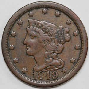 1849 1/2C BRAIDED HAIR HALF CENT