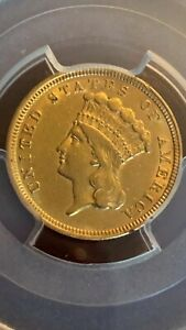 1854 $3 GOLD INDIAN PRINCESS HEAD COIN PCGS AU53 THREE DOLLAR ABOUT UNCIRCULATED