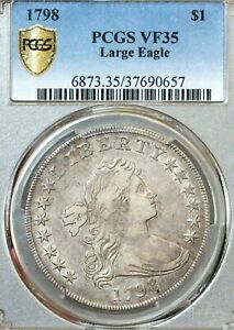 1798 $1 DRAPED BUST DOLLAR LARGE EAGLE POINTED 9 PCGS VF35 B 14 BB 122 SUPERB