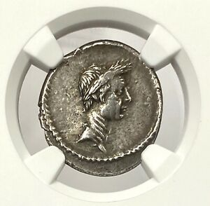 Click now to see the BUY IT NOW Price! JULIUS CAESAR 42 BC SILVER DENARIUS NGC CHXF  DEIFIED POSTHUMOUS PORTRAIT