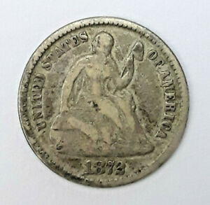 1872 90  SILVER SEATED LIBERTY HALF DIME  5 CENTS    52220 120