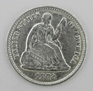 1872 90  SILVER SEATED LIBERTY HALF DIME  5 CENTS    62420 121
