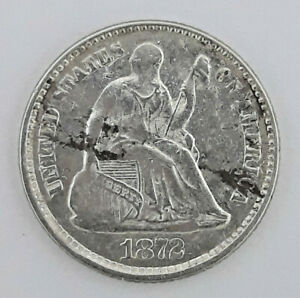 1872 90  SILVER SEATED LIBERTY HALF DIME  5 CENTS    62420 119