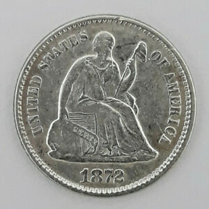 1872 90  SILVER SEATED LIBERTY HALF DIME  5 CENTS    62420 122