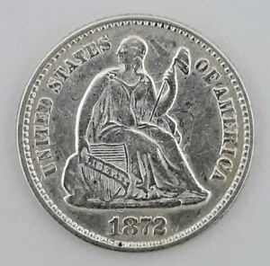 1872 90  SILVER SEATED LIBERTY HALF DIME  5 CENTS    62420 120