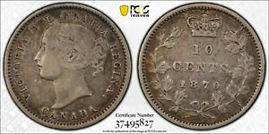 1870 CANADA SILVER 10 CENTS NARROW 0 PCGS XF 40 DIE CRACKS 10C
