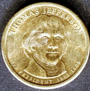 2007 THOMAS JEFFERSON PRESIDENTIAL AMERICAN LIBERTY ONE DOLLAR $1 COIN  GOLD