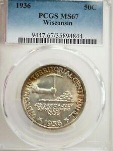 1936 WISCONSIN 50C PCGS CERTIFIED MS67  4844
