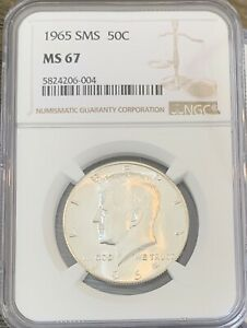 1965 SMS KENNEDY HALF DOLLAR NGC MS67  NICE SURFACES EYE APPEAL PQ