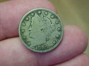 1883 LIBERTY V NICKEL WITH CENTS FULL RIM DATE LBERTY LETTERING TONED