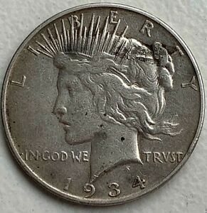1934 D PEACE SILVER DOLLAR   DDO    VAM 3    ABOUT FINE   OBV LAMINATION ERROR