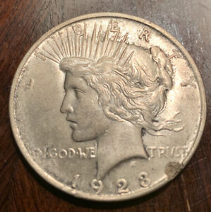 1923 P PEACE DOLLAR GEM UNCIRCULATED   MINT ERROR STRUCK THRU ON RIM  90  SILVER