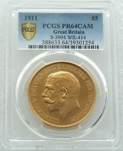 Click now to see the BUY IT NOW Price! 1911 GEORGE V CORONATION 5 FIVE POUND SOVEREIGN GOLD PROOF COIN PCGS PR64 CAM