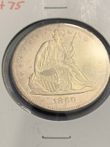 1860 O SEATED LIBERTY DOLLAR BU 61 UNC PROOF LIKE OBV AND REV TYPE 3 NO MOTTO