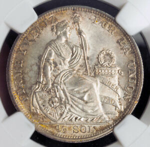 Click now to see the BUY IT NOW Price! 1907 PERU  REPUBLIC . BEAUTIFUL SILVER  SOL  MEDIO SOL  COIN. NGC MS 64