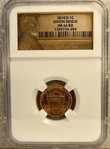 2010 D 1C LINCOLN UNION SHIELD NGC MS66RD  4004