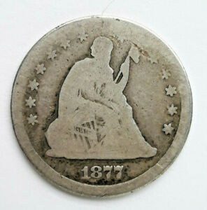 1877  90  SILVER SEATED LIBERTY QUARTER DOLLAR    52220 125