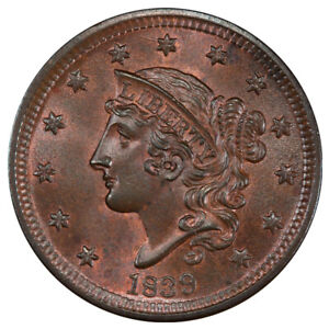 Click now to see the BUY IT NOW Price! 1839 1C SILLY HEAD N 9 R.2 PCGS MS66BN CAC