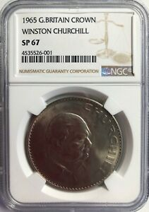 Click now to see the BUY IT NOW Price! 1965 WINSTON CHURCHILL CROWN GREAT BRITAIN NGC SP67 FINEST KNOWN MEGA RARITY