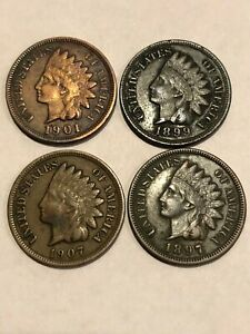 1897 1899 1901 1907 4 INDIAN CENT PENNY LOT FULL LIBERTY 1 PRICE