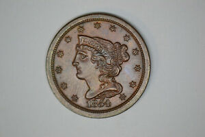1854 BRAIDED HAIR HALF CENT CHOICE DETAILS  FROM LOCAL AUCTION  BEAUTIFUL