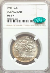 Click now to see the BUY IT NOW Price! 1935 NGC CAC MS67 CONNECTICUT PASTEL TONED  COMMEMORATIVE SILVER HALF DOLLAR GEM