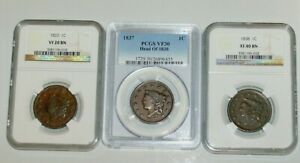 THREE PCGS 1837 VF 30 AND NGC 1838 LARGE CENT XF 40 AND 1833 VF 20 CORONET 1C