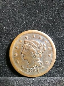 1851 BRAIDED HAIR LARGE CENT    EXTRA FINE  BETTER DATE