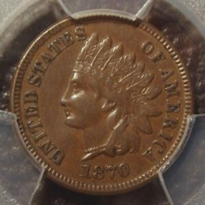 1870 INDIAN HEAD CENT AWESOME DETAIL NICE EVEN TONING PCGS GRADED AU53