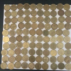 ISRAEL/ISRAELI COINS SET OF 100: 10 AGOROT COIN 1985 PRESENT