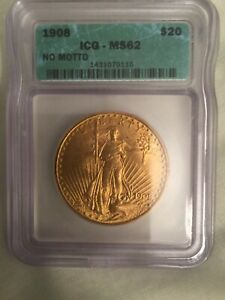1908 PCGS MS 62 OGH NO MOTTO ST. GAUDENS $20 DOUBLE EAGLE GOLD COIN