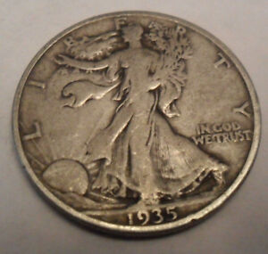 1935 S WALKING LIBERTY HALF DOLLAR  AG OR BETTER   90  SILVER