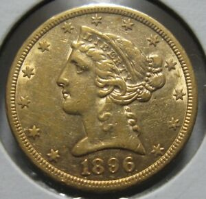 Click now to see the BUY IT NOW Price! 1896 S HALF EAGLE GOLD   US $5 SAN FRANCISCO MINT NOT CLEANED NICE EXAMPLE