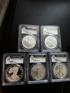 2011 AMERICAN SILVER EAGLE 25TH ANNIVERSARY SET PGCS MERCANTI FS  MS/PF70