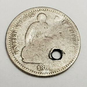 186? P SEATED LIBERTY    HALF    DIME   MISSING DATE   PENDANT