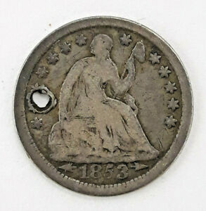 1853  90  SILVER SEATED LIBERTY HALF DIME   HOLED      73120 196