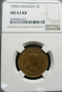 1902 CANADA ONE CENT NGC MS63 RB