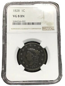 1828 LARGE CENT WIDE DATE   NGC VG8 BN