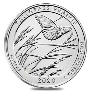 2020 5 OZ SILVER AMERICA THE BEAUTIFUL ATB KANSAS TALLGRASS PRAIRIE NATIONAL