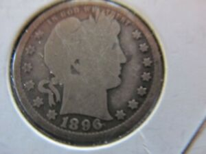 1896 PHILADELPHIA MINT BARBER QUARTER DOLLAR SILVER 25 C COIN.