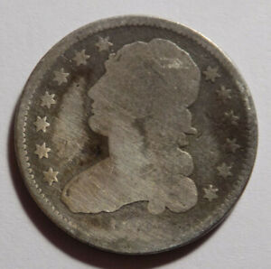 1834 25C CAPPED BUST QUARTER BENT AND CLEANED