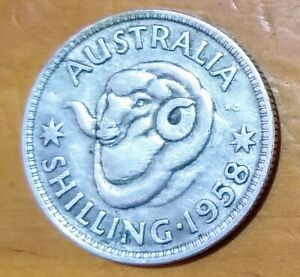 1958 AUSTRALIAN SILVER SHILLING QEII COIN CIRCULATED