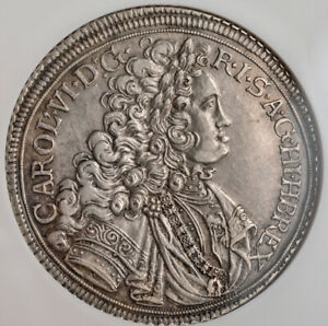 Click now to see the BUY IT NOW Price! 1716 SILESIA EMPEROR CHARLES VI. SILVER THALER COIN. BRESLAU MINT  NGC AU 55