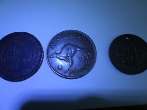 OLD AUSTRALIAN AND NEW ZEALAND CENTS COINS: 1916 & 1943 AUSSIE CENTS 1/2 C NZ