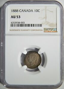 1888 CANADA SILVER 10 CENTS NGC AU 53 TONED 10C